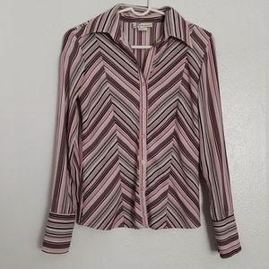 Dressbarn striped button down dress shirt